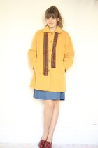 mustard vintage coat - blue nautical vintage dress