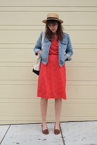 red kohls dress - light blue denim thrifted jacket