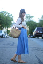 tan market thrifted vintage bag - sky blue denim midi Vintage Thrifted skirt
