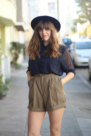 camel vintage shorts - navy vintage hat - navy sheer vintage blouse