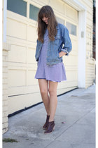 sky blue denim vintage jacket - dark brown ankle Rachel Comey boots