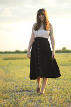 black vintage skirt - peach silk vintage vest - dark brown leather vintage flats