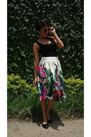 green Lets Stylize skirt - black Forever 21 bodysuit