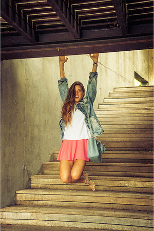 bubble gum hot pink Bershka skirt - sky blue denim pull&bear jacket