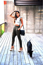 black fringed Zara bag - nude high heels Aldo shoes - silver Zara top