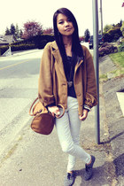 mustard American Apparel jacket - H&M shoes - tawny H&M bag