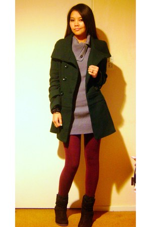 Forever 21 coat - random brand sweater - H&M tights