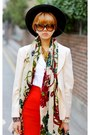 Red-yesimfrench-skirt-navy-fendi-bag-dark-brown-bottega-veneta-sunglasses
