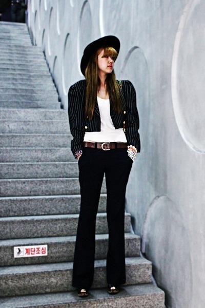 black vintage jacket - navy Gap pants - black Nine West wedges