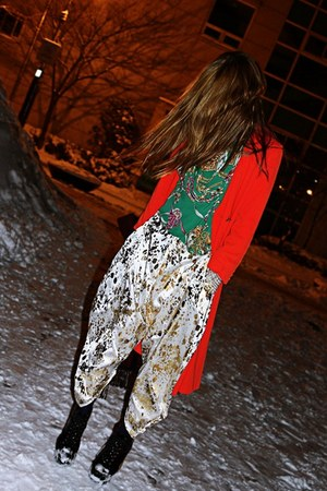 gold aladdin Natalie B Coleman pants - red vintage coat - green vintage blouse