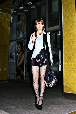 black Jeffrey Campbell heels - navy Fendi bag - black Topshop skirt