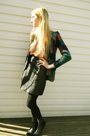 thrifted boots - thrifted skirt - thrifted blouse - thrifted cardigan