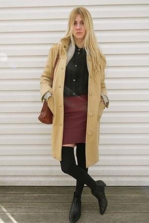 thrifted boots - thrifted coat - thrifted sweater - flea market bag - keneddy ho