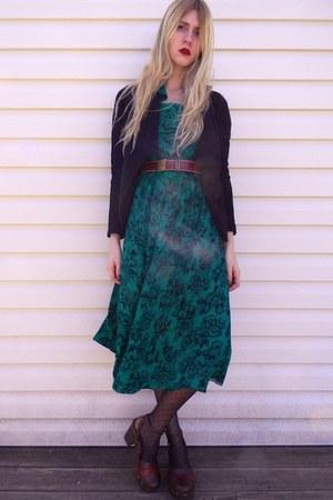 brimfield antique fair dress - Gap tights - thrifted belt - Gap cardigan - thrif