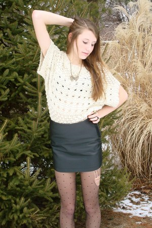 black ankle Forever 21 boots - cream knit Forever 21 sweater - black polka dot F