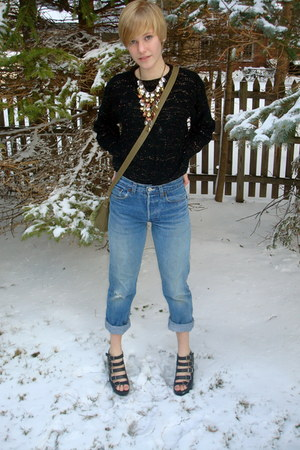 vintage jeans - black thrifted sweater - army green cross-body Target bag - blac