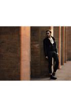 black Zara boots - black Zara jacket - white Pasdutout shirt