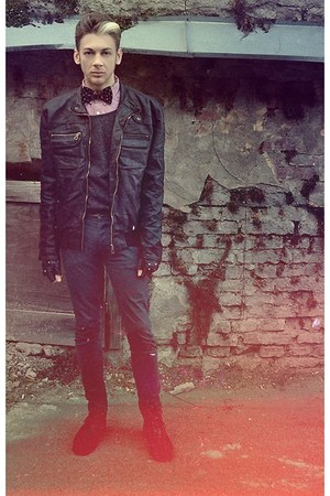 black Zara shoes - black Aggressive & Co jacket - peach H&M shirt