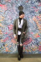 navy H&M jeans - black Zara shoes - charcoal gray House of art coat