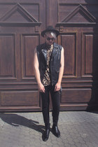 black Zara boots - black H&M hat - bronze H&M shirt - black H&M pants