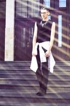 black H&M boots - black Givenchy shirt - off white H&M shirt - black H&M pants