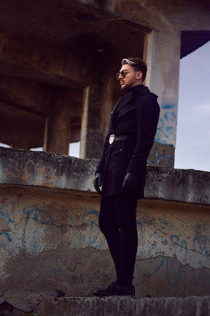 black Zara coat - black Marelbo shoes - black H&M pants