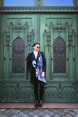 dark brown H&M boots - black Zara coat - off white H&M shirt - black H&M pants
