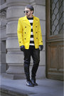 Black-h-m-boots-yellow-zara-coat-black-h-m-shirt-black-zara-pants