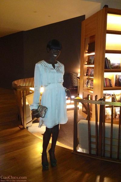 silver snakeskin Rebecca Minkoff purse - off white silk Theory dress