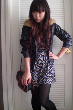 black vintage jacket - blue vintage dress - black tights - brown vintage Dooney