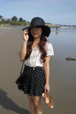 black Forever 21 hat - beige blouse - black vintage skirt - brown vintage Dooney