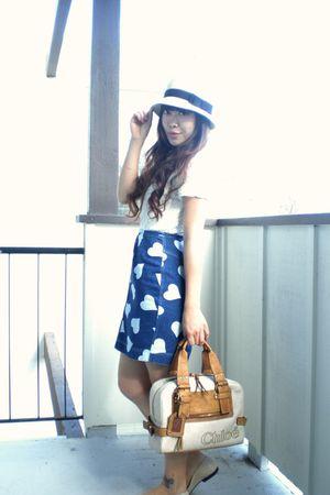 beige Forever 21 hat - white vintage blouse - blue vintage skirt - beige Chloe p