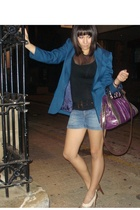blue vintage blazer - black Tokito top - blue supre shorts - brown Guess shoes