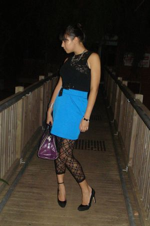 black Ambra leggings - black vintage top - blue Tokito dress - purple purse - bl