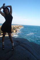 black Tokito top - black skirt - white Myer socks - brown Siren shoes