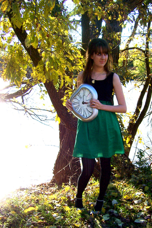 green Anthropologie dress - gold vintage necklace - black Target tights - gray s