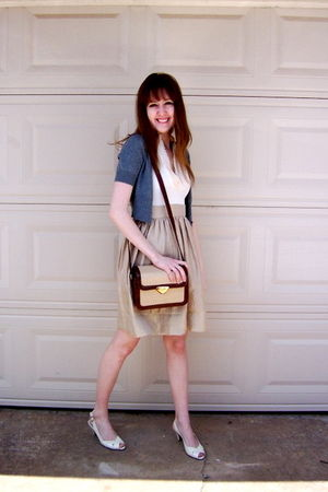 gray Target cardigan - beige Rampage dress - beige michelle d shoes - brown vint