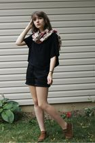 black Divided shirt - black shorts - beige H&M scarf - brown Bronks shoes