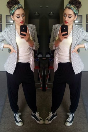 silver love couture blazer - white Forever21 shirt - black H&M Trend pants
