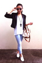 Forever 21 blazer - white oxford Forever 21 shoes - jeggings H&M jeans