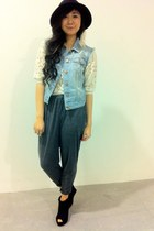 H&M vest - H&M hat - Forever 21 blouse - feather H&M earrings