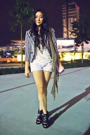 H&M blazer - fringed Topshop bag - Forever 21 shorts - H&M wedges