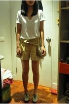 white Zara shirt - beige gifted Just G shorts - beige Rockwell Bazaar purse - be