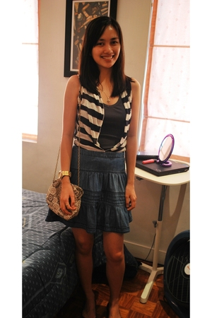 blue H&M skirt - blue from a bazaar vest - blue g2000 top - gold Swatch accessor
