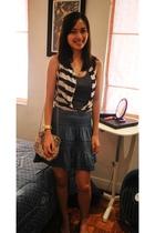 blue H&M skirt - blue from a bazaar vest - blue g2000 top - gold Swatch accessor