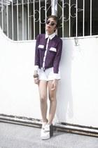 purple Sunkiss Closet top - dark khaki owl OASAP earrings