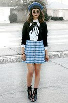 sky blue plaid vintage skirt - black lace up boots Forever 21 boots