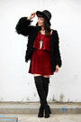 Black-little-mistress-boots-ruby-red-tobi-dress-black-ray-ban-sunglasses