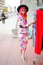 Hot-pink-floral-hedonia-dress-black-felt-hat