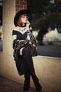 Black-boots-black-tobi-dress-black-hat-black-accessories